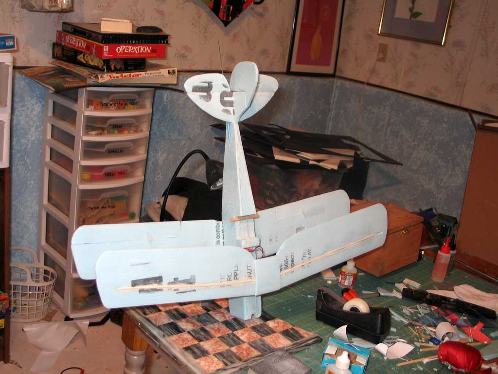 Ailerons, rudder and elevator test-taped in place