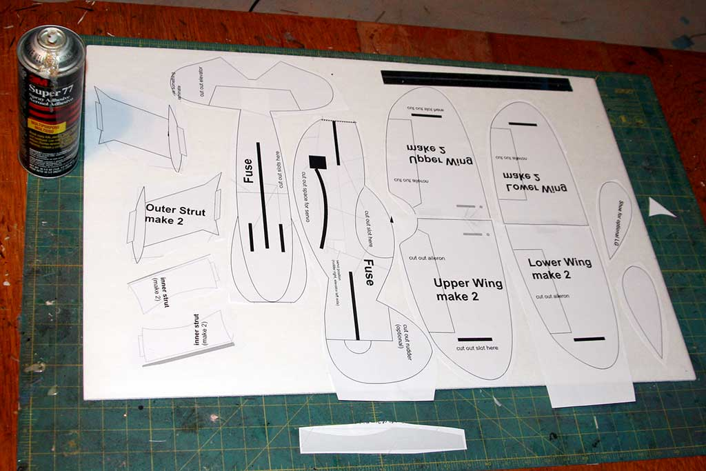 Printed plans, glued to a sheet of foamboard