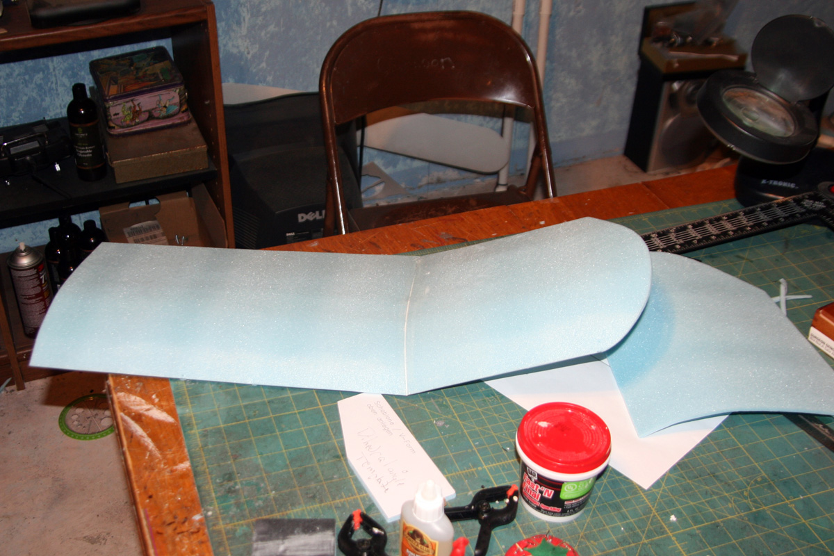 The first wingtip, glued back on at 20°