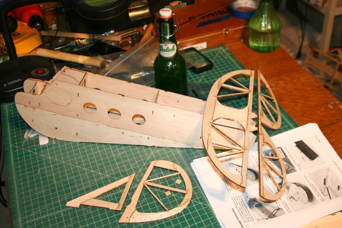 Starting to get an idea of the size of the finished plane. (The Grolsh is included for scale.)